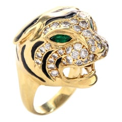 Estate Panther Diamond Emerald 18 Karat Cocktail Ring