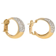 Estate Pavé Diamond and Gold Front-Facing Hoop Earrings