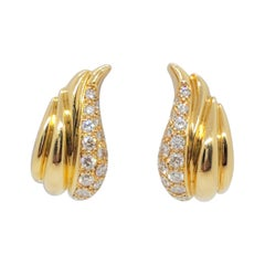 Estate Pave Diamond Earrings in 18k Yellow Gold