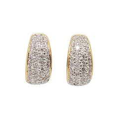 Estate Pave Diamond Semi Hoops in 18k Gold