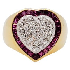 Estate Pave White Diamond and Ruby Square Heart Shape Ring in 18k Yellow Gold