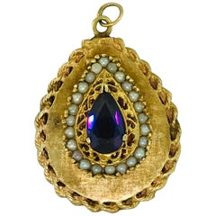 Estate Vintage Locket Pear Shape Amethyst Seed Pearl Pendant with Chain 14K Gold