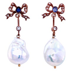 Estate Pearl Bow Sapphire Diamond Rose Gold Earrings