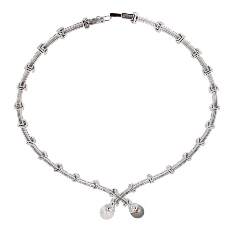 Estate Pearl Diamond White Gold Necklace In Good Condition For Sale In Feasterville, PA