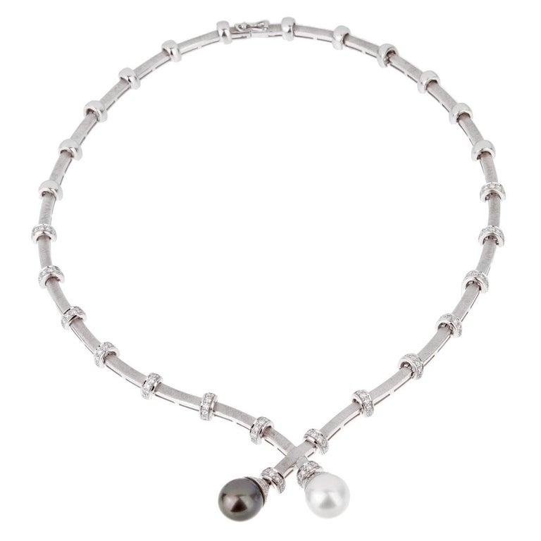 Women's or Men's Estate Pearl Diamond White Gold Necklace For Sale