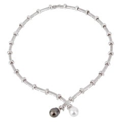 Estate Pearl Diamond White Gold Necklace
