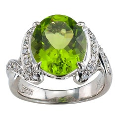 Estate Peridot Diamond Platinum Cocktail Ring