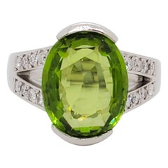 Estate Peridot Oval and White Diamond Cocktail Ring in Platinum