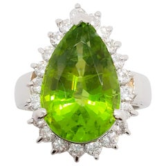 Estate Peridot Pear Shape and White Diamond Cocktail Ring in Platinum