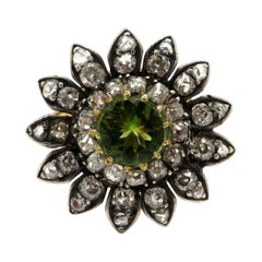 Estate Peridot & Round Diamond Victorian Style 14K and Silver Flower Daisy Ring