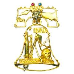 Estate Peter Lindeman 18K Gold Ruby Sapphire & Diamond Liberty Bell Pendant Pin