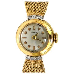 Estate Petite 18 Karat Gublin Swiss Ladies Gold Watch Mesh and Star Bar Dial