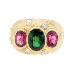 Estate Pink and Green Tourmaline Diamond Gold Ring
