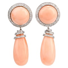 Estate Pink Coral Diamond Clip-On Dangle Drop 18 Karat Earrings