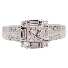 Estate Pink Diamond Princess Cut and White Diamond Engagement Ring in Platinum