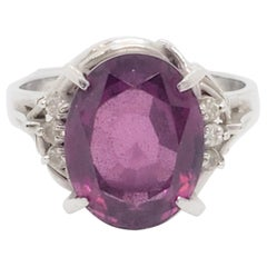 Estate Pink Garnet Oval and White Diamond Cocktail Ring in Platinum