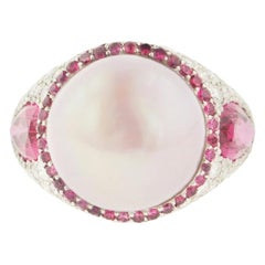 Estate Pink Pearl Spinel Diamond and Platinum Cocktail Ring