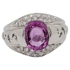 Estate Pink Sapphire and White Diamond Cocktail Ring in 18k White Gold