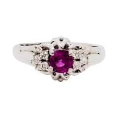 Estate Pink Sapphire and White Diamond Ring in Platinum