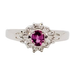 Estate Pink Sapphire Oval and White Diamond Ring in Platinum