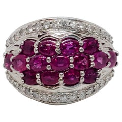 Estate Pink Sapphire Oval Cabochon and White Diamond Ring in Platinum