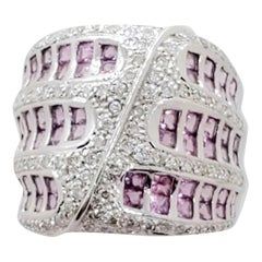 Estate Pink Sapphire Square and White Diamond Pave Ring in 18 Karat White Gold