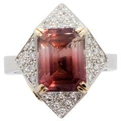 Estate Pink Tourmaline and White Diamond Cocktail Ring