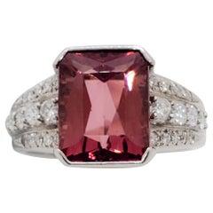 Estate Pink Tourmaline Emerald Cut and Diamond Cocktail Ring in Platinum