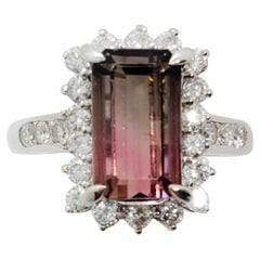 Estate Pink Tourmaline Emerald Cut and Diamond Ring in Platinum