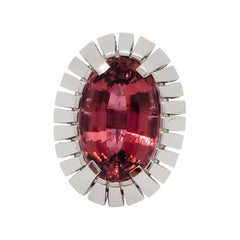 Estate Pink Tourmaline Oval Cocktail Ring in 14k White Gold