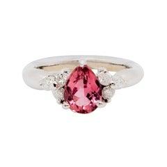 Estate Pink Tourmaline Pear Shape and White Diamond Ring