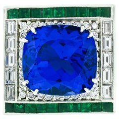 Estate Platinum 12.53ctw GIA Tanzanite Emerald & Diamond Cocktail Statement Ring