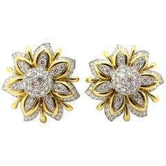 Estate Platinum & 18 Karat Designer Verdura 13.00 Carat Flower Diamond Earrings