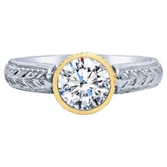 Estate Platinum 18 Karat Yellow Gold 1.21 Carat Diamond Engagement Ring