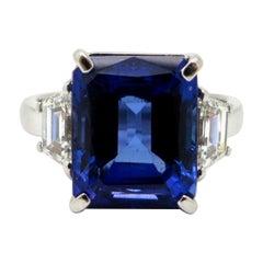 Estate Platinum 6.67 Carat Tanzanite and Diamond Three-Stone Ring