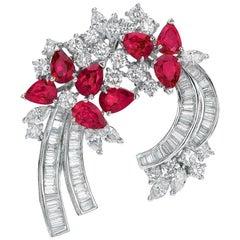 Estate Platinum 8.74 Carat Ruby and Diamond Brooch