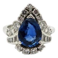 Estate Platinum and 14 Karat White Gold Sapphire and Diamond Ring