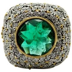 Estate Platinum and 18K Yellow Gold Victorian Diamond & Emerald Flower Ring
