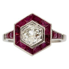 Estate Platinum Antique Mine Cut Diamonds and Rubies Ring