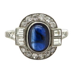 Estate Platinum Art Deco Style 1.50 Carat Sapphire and Diamond Ring