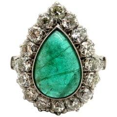 Estate Platinum Art Deco Style Emerald and Diamond Antique Halo Ring