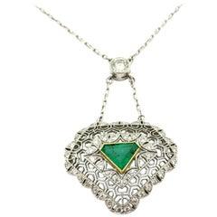 Estate Platinum Art Deco Style Emerald Diamond Profile Antique Pendant Necklace