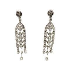 Estate Platinum Art Deco Style Round Diamond Chandelier Tassle Dangle Earrings