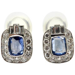 Estate Platinum Ceylon Sapphire, Round, and Baguette Diamond Clip-On Earrings