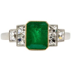 Estate Platinum Colombian Emerald and French Cut Diamonds Ring