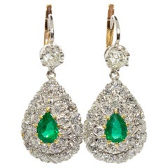 Estate Platinum Colombian Emeralds and Antique Old Mine Diamonds Earrings
