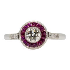 Estate Platinum Diamond and Ruby Ring