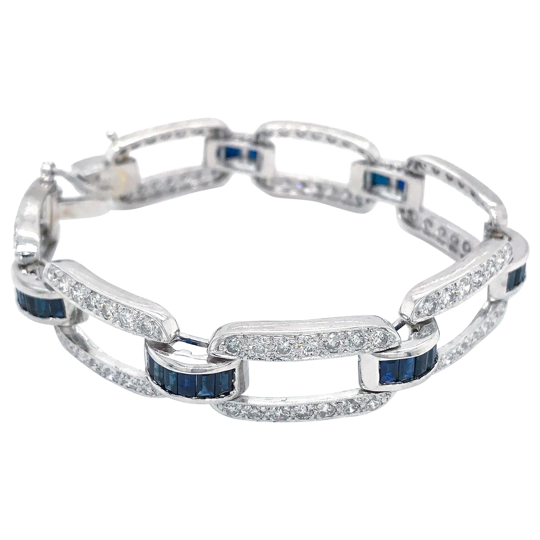 Estate Platinum Diamond and Sapphire Bracelet