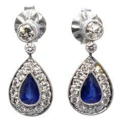 Art Deco Platin Ohrringe mit Diamanten und Saphiren