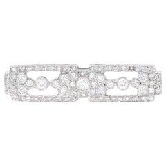 Estate Platinum Diamond Bar Brooch